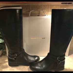Marc Fisher Alexis Black Leather Boot. 7.5 M